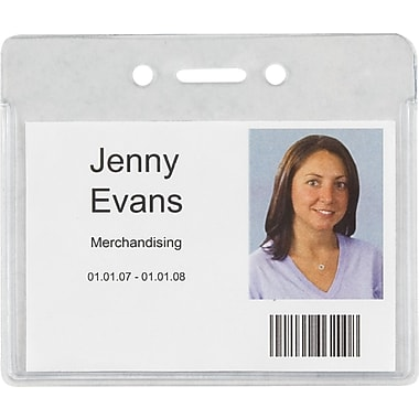 Staples® Heavy-Duty ID Badge Holders, Horizontal, 3 7/8in. x 3 3/8in., 50/Pk