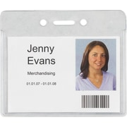"Staples 37867 Heavy-Duty ID Badge Holders, Horizontal, 3 7/8"" x 3 3/8"", 50/Pack"