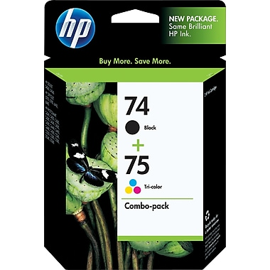 HP 74/75 Black and Tricolor Ink Cartridges (CC659FN), Combo 2/Pack