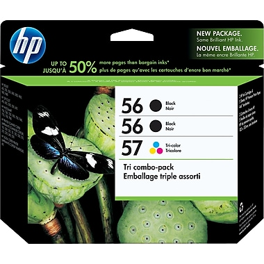 HP 56/56/57 Black and Tri-color Ink Cartridges (CD944FN), Combo 3/Pack