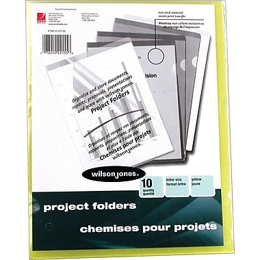 Wilson Jones® Poly Project Folders, Letter, Yellow, 10/Pack
