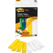 Post-it®  Super Sticky Removable Label Pads, White & Yellow, 5/8 x 2 1/4, 8 Pads/Pack