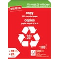 Staples® 30% Recycled FSC-Certified Copy Paper, 20 lb., 8-1/2in. x 11in., Ream