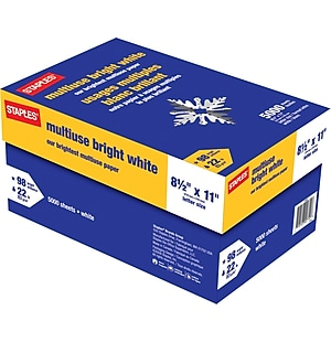 Staples® Bright White Multipurpose Paper, 8 1/2' x 11', Case