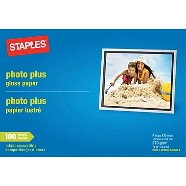 Staples® Photo Plus Paper, 4in. x 6in., Gloss,  100/Pack