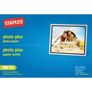 "Staples® Photo Plus Paper, 4"" x 6"", Gloss, 100/Pack"