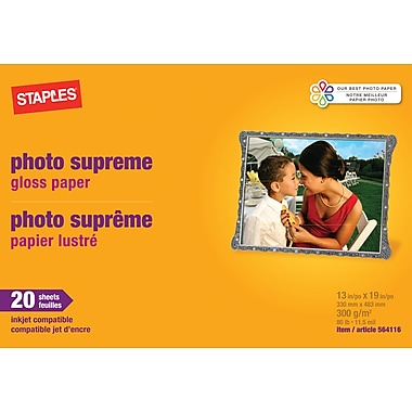 Staples® Photo Supreme Paper, 13in. x 19in., Gloss, 20/Pack