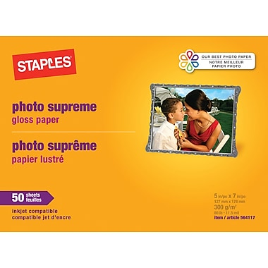 Staples® Photo Supreme Paper, 5in. x 7in., Gloss, 50/Pack