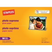 "Staples Photo Supreme Paper, 5"" x 7"", Gloss, 50/Pack (19892-CC)"
