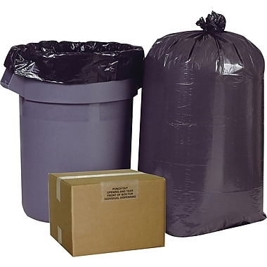 Brighton Professional High Density Super Heavy Strength Trash Bags, Black, 60 Gallon, 150 Bags/Box