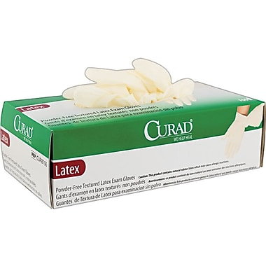 Curad Powder-Free Latex Exam Gloves, Large, 100/Box