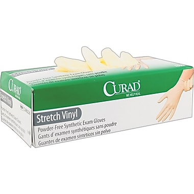 Curad® Synthetic Vinyl Powder-Free Exam Gloves, Medium, 100/Box
