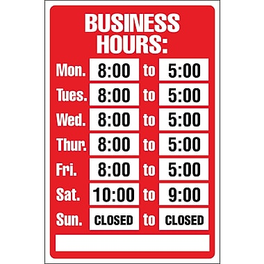 Marking Products, Inc., Business Hours Sign Kit, 8in. x 12in.