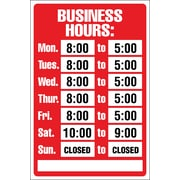 "Marking Products, Inc., Business Hours Sign Kit, 8"" x 12"""