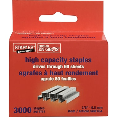 Staples High-Capacity Staples, 3/8