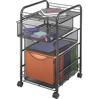 Safco® Onyx™ 5213 Mesh File Cart With 1 File Drawer and 2 Small Drawers, Black