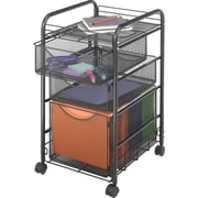 Safco Onyx™ Mesh File Cart with 1 File Drawer and 2 Small Drawers, Black (5213)