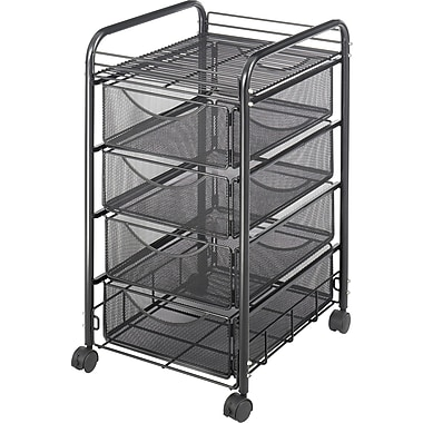 Safco® Onyx™ 5214 Mesh File Cart With 4 Drawers, Black