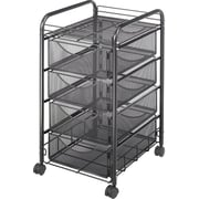 Safco® Onyx™ 4-Drawer Mesh File Cart, Black, Letter (5214BL)