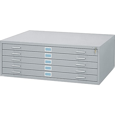 Safco 5-Drawer Steel Flat File Only, 16 1/2in.H x 53 3/8in.W x 41 3/8in.D, Gray