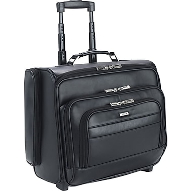 SOLO® Leather Dual-Access Rolling Overnighter Laptop Case, Black, 15.6in.