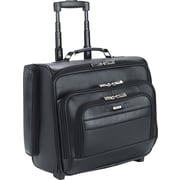 SOLO® Leather Dual-Access Rolling Overnighter Laptop Case, Black, 15.6