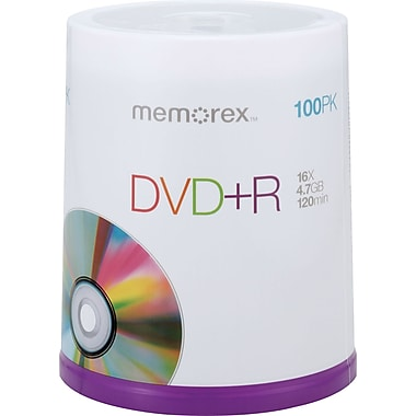 Memorex 4.7GB DVD+R, 100/Pack