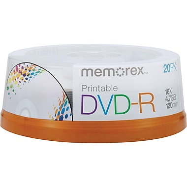 Memorex 20/Pack 4.7GB Printable DVD-R, Spindle