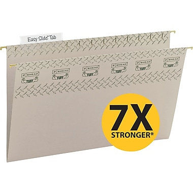 Smead TUFF® Hanging File Folders with Easy Slide Tabs, Legal, 3 Tab, Steel Gray, 18/Box