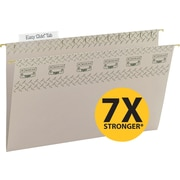 Smead TUFF® Hanging File Folders with Easy Slide™ Tabs, Legal, 3 Tab, Steel Gray, 18/Box