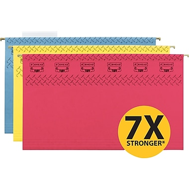 Smead TUFF® Hanging File Folders with Easy Slide Tabs, Legal, 3 Tab, Assorted, 15/Box
