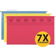 "Smead® TUFF® Hanging File Folders With Easy Slide™ Tab, Assorted Colors, Legal,, Holds 8 1/2""H x 14""W, 15/Bx"