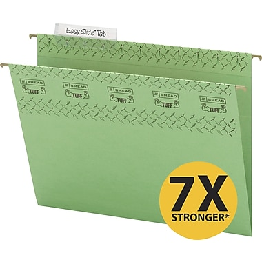 Smead TUFF® Hanging File Folders with Easy Slide Tabs, Letter, 3 Tab, Green, 18/Box