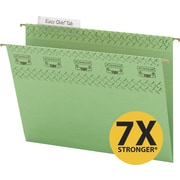 Smead TUFF® Hanging File Folders with Easy Slide™ Tabs, Letter, 3 Tab, Green, 18/Box