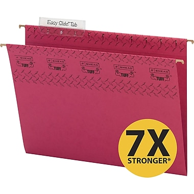 Smead TUFF® Hanging File Folders with Easy Slide Tabs, Letter, 3 Tab, Red, 18/Box