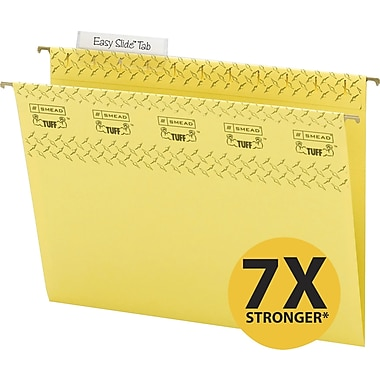 Smead TUFF® Hanging File Folders with Easy Slide Tabs, Letter, 3 Tab, Yellow, 18/Box