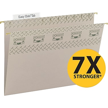 Smead TUFF® Hanging File Folders with Easy Slide Tabs, Letter, 3 Tab, Steel Gray, 18/Box