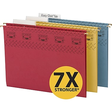 Smead TUFF® Hanging File Folders with Easy Slide Tabs, Letter, 3 Tab, Assorted, 15/Box