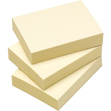 Staples® Stickies 1-3/8in. x 1-7/8in. Recycled Yellow Notes, 12/Pack