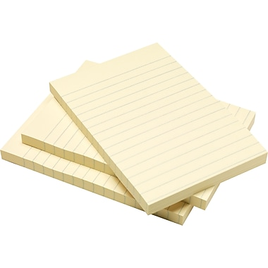 Staples® Stickies 4in. x 6in. Recycled Yellow Line-Ruled Notes, 5/Pack
