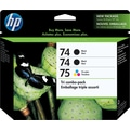 HP 74/74/75  Black and Tri-color Ink Cartridges (CD976FN), Combo 3/Pack