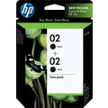 HP 02 Black Ink Cartridges (C9500BN), 2/Pack