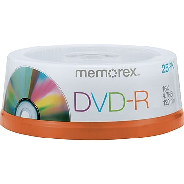 Memorex 32025638/5596 4.7GB DVD-R, Spindle, 25/Pack