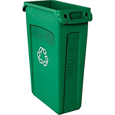 Rubbermaid Vented Slim Jim® Container, Green, 23 gal.