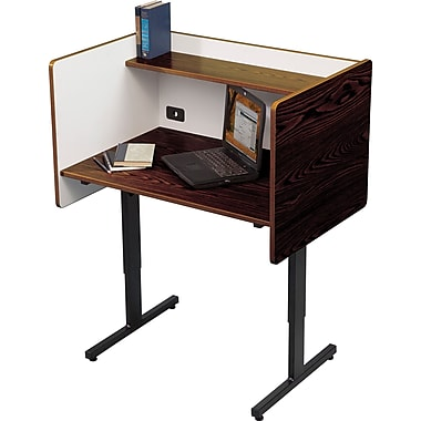 Balt Adjustable Height Study Carrel, Walnut