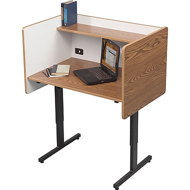 Balt Adjustable Height Study Carrel, Oak