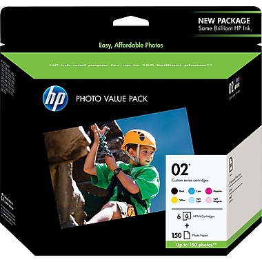 HP 02 Black and C/M/Y/LC/LM Color Ink Cartridges w/ Photo Value Kit (Q7964AN), Combo 6/Pack
