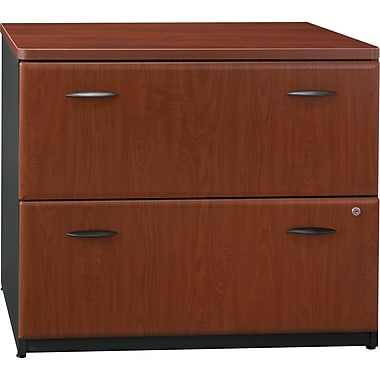 Bush Cubix Lateral File Cabinet, Hansen Cherry/Galaxy, Pre-Assembled