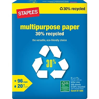Staples® 30% Recycled Multipurpose Paper, 8 1/2in. x 11in., Ream