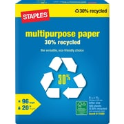 Staples® 30% Recycled Multipurpose Paper, 8 1/2 x 11, Ream